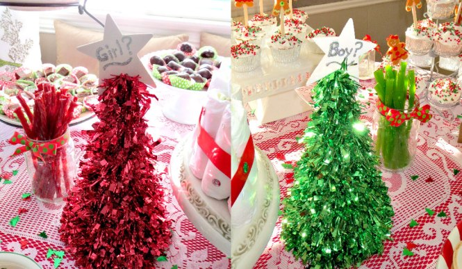 2 Christmas Gender Reveal Trees