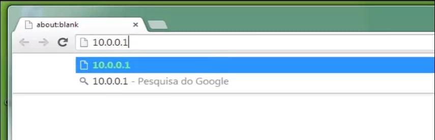 Imagem que mostra o endereço ip http://10.0.0.1 sendo acessado