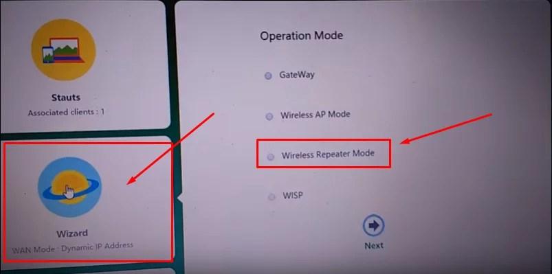 Imagem da tela wizard de configuração do repetidor wireless n