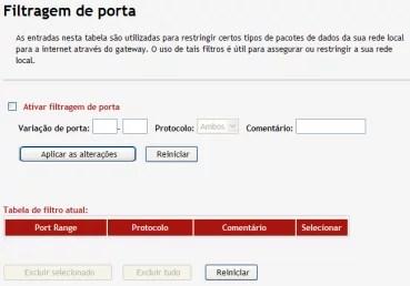 Imagem mostra o menu de filtragem de porta
