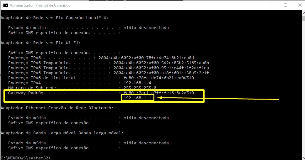 Imagem mostra tela do Prompt de comando e gateway padrão 192.168.1.1