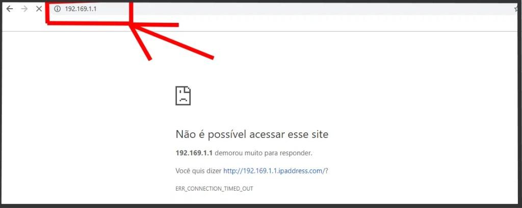 Imagem que demonstra uma falha do login por digitar errado o IP 192.168.l.l