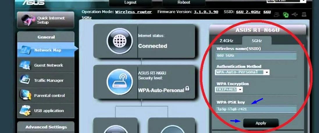 Imagem mostra tela do  painel do roteador Asus