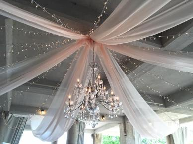 1 XLarge Crystal Chandelier, 6 Panels of Champagne Organza,14 Strands of Twinkle Lights