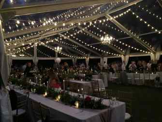 16 Strands of Twinkle Lights, 3 Large Brass Chandeliers