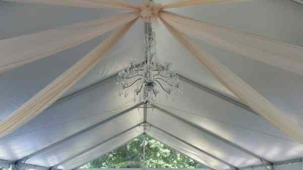 6 Panels of Champagne Organza, 1 XLarge Crystal Chandelier