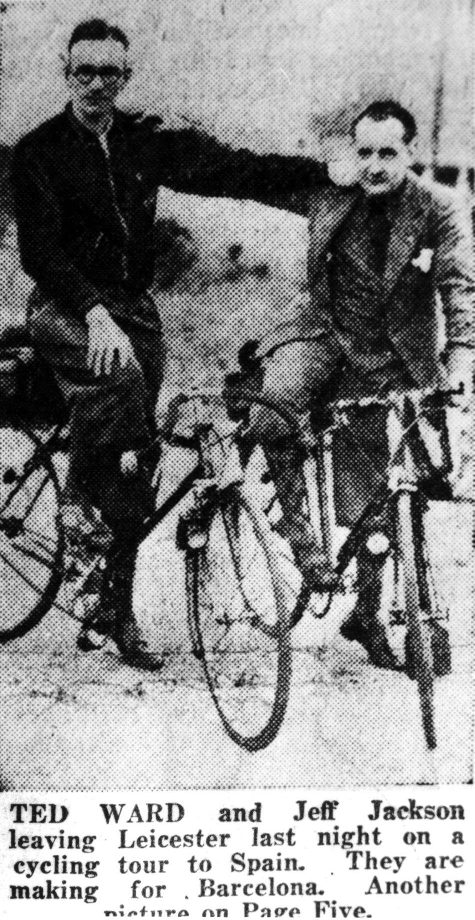 Ted Ward and Geoff jackson on their original ride in may 1938 passing through Leicester