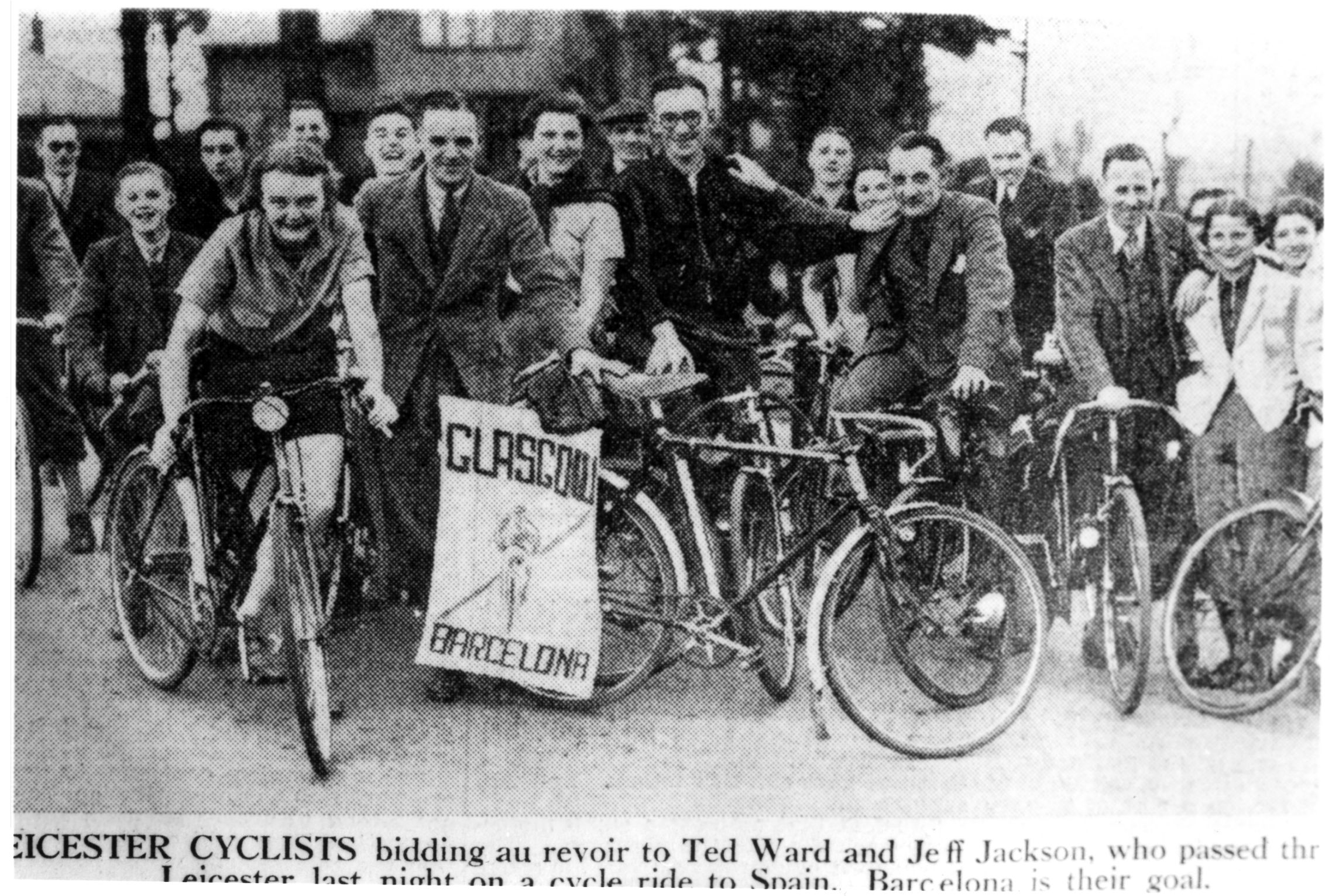 TedWard and geoff Jackson with supporters taken in Leicester in May 1938