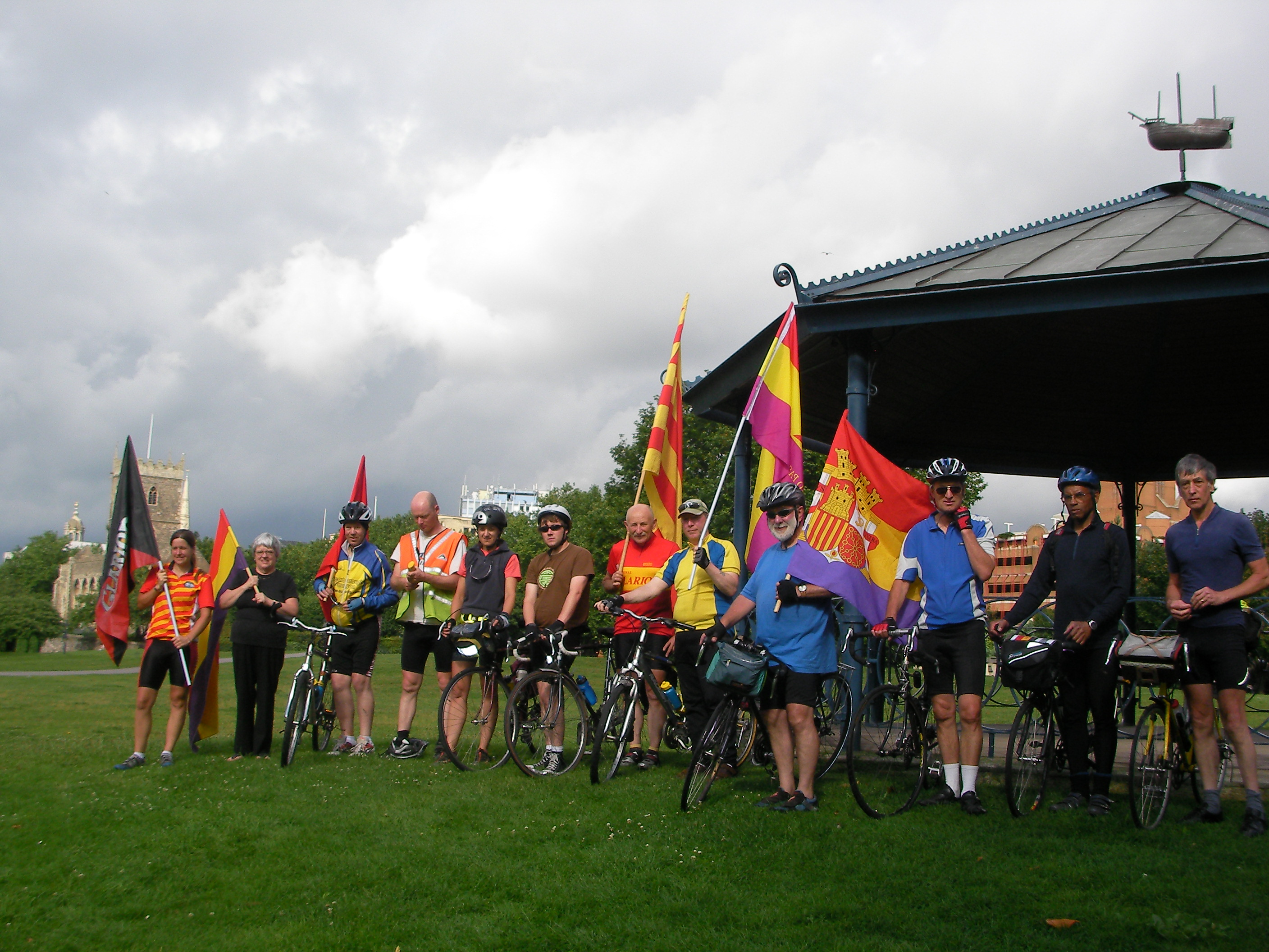 The cyclists in Castle Park, Bristol