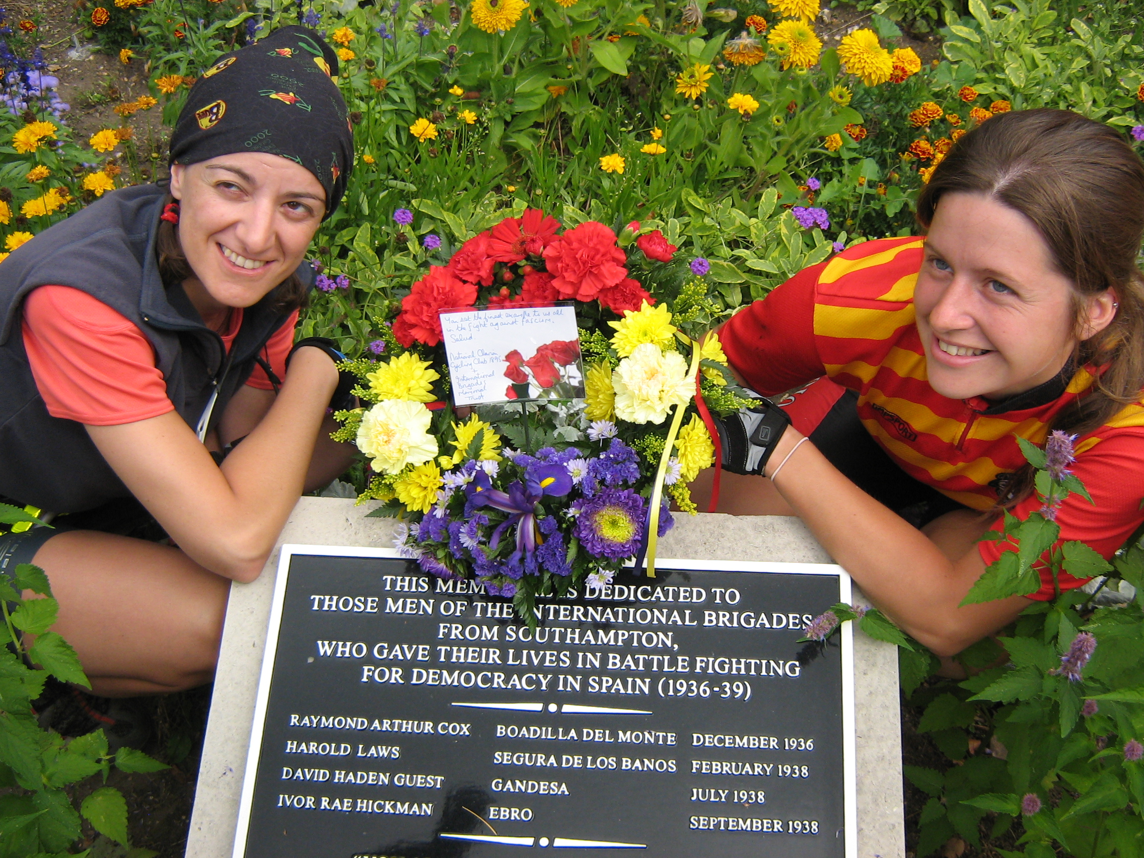 Anna and Ruth beside the Southampton memorial