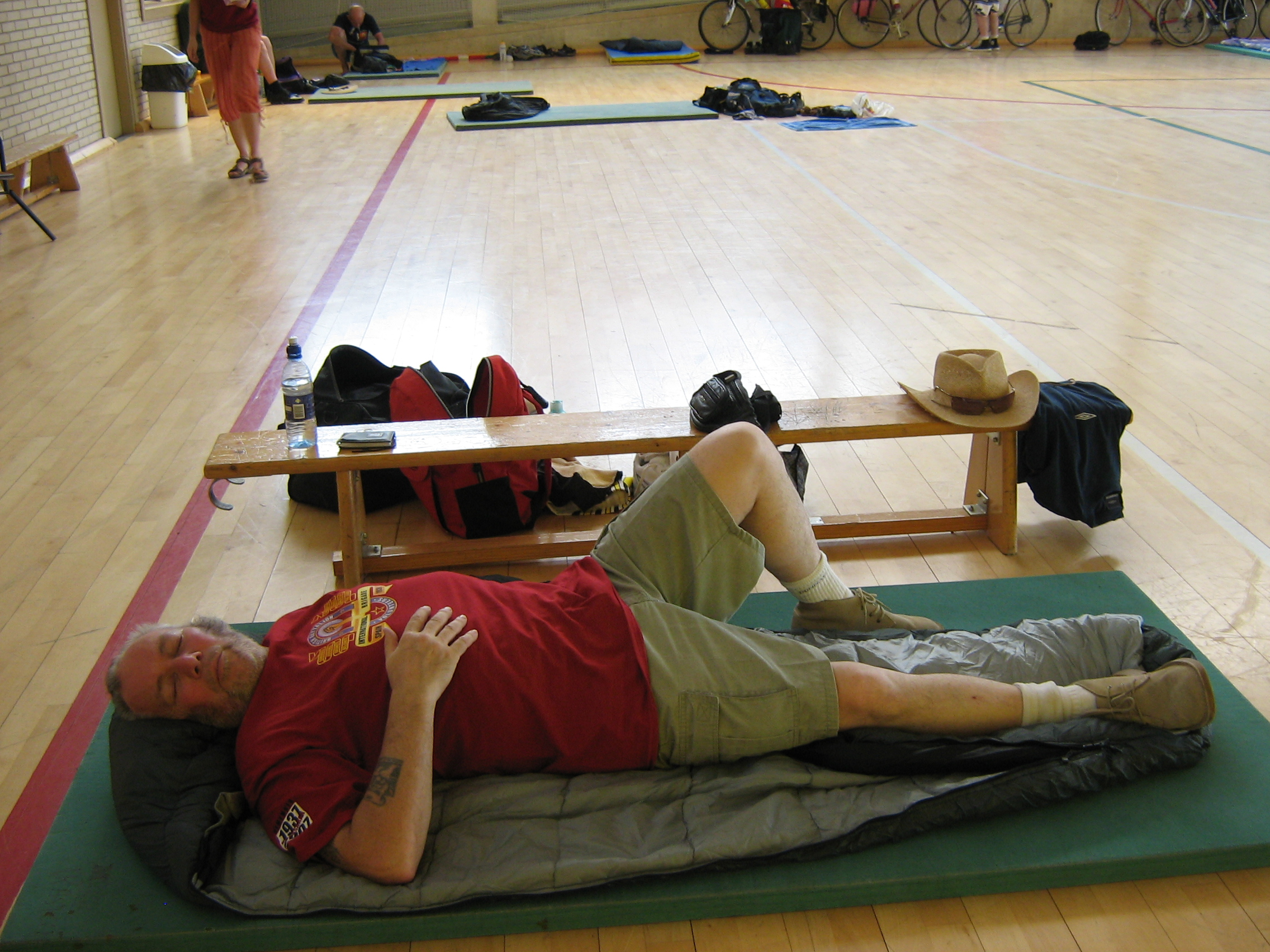 Lyn fast asleep in the Sports Hall