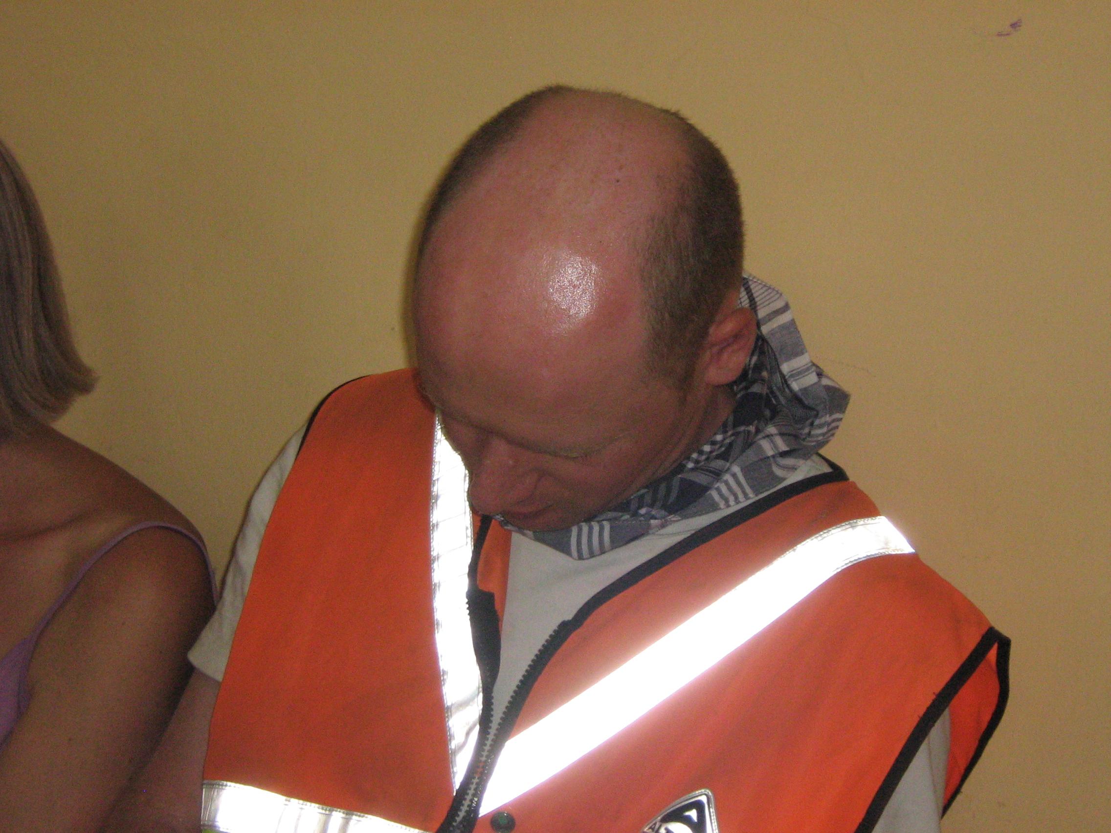 Chris asleep in front of the Alcalde of Valtierra