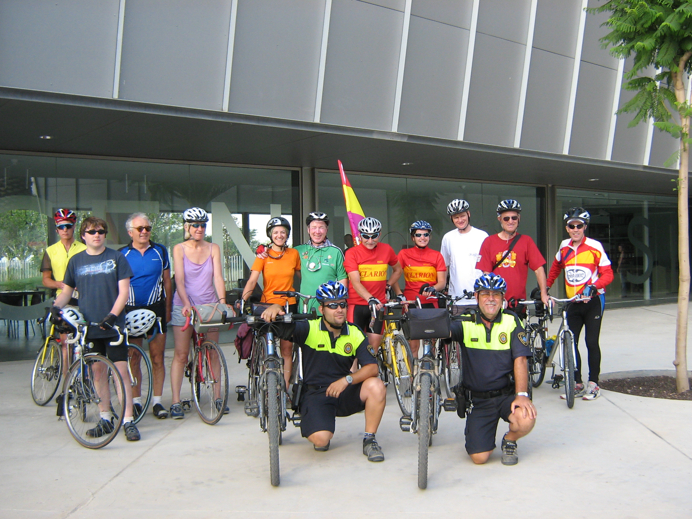 Cyclists and Police escort before leaving for Barcelona