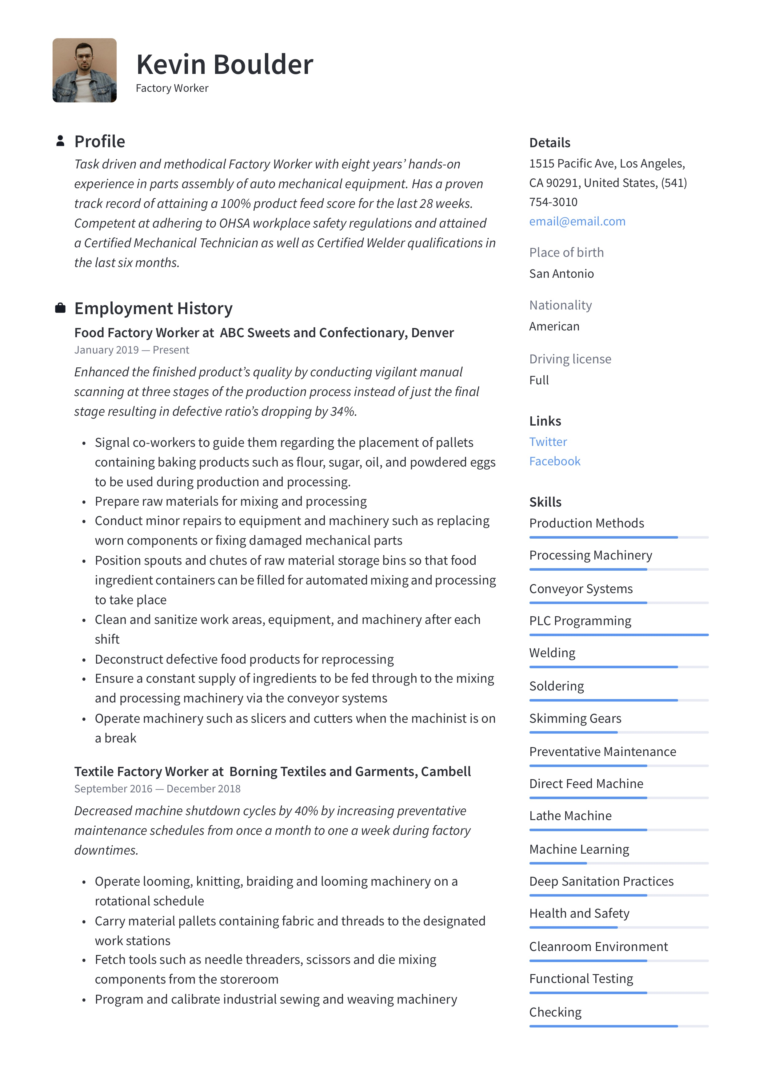 Factory Worker Resume Writing Guide 12 Resume Examples 2020