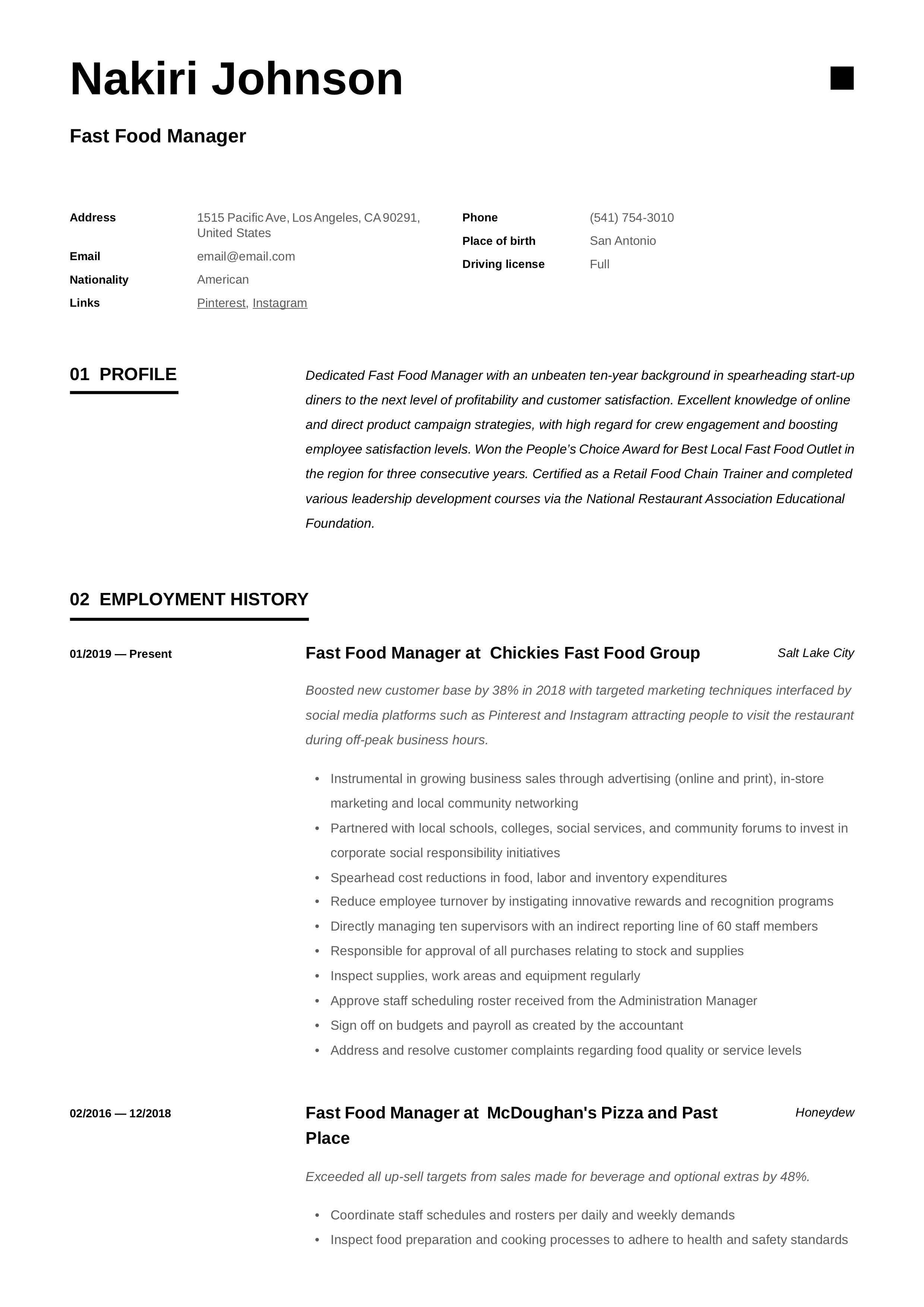 Fast Food Manager Resume Amp Writing Guide