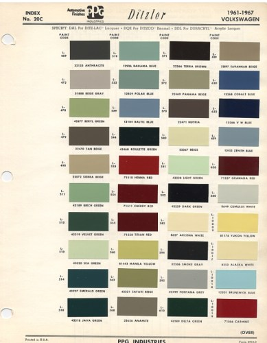Original Vw Beetle Paint Schemes 1967 Vw Beetle