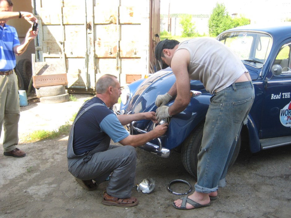Replacing headlight near Kazan, Russia