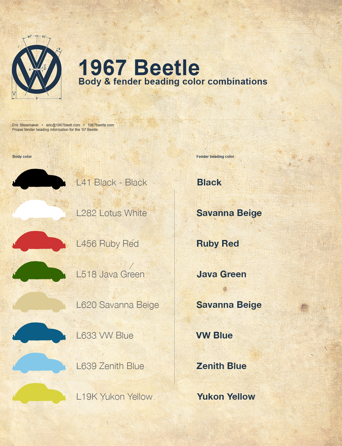 Correct Fender Beading Color Combinations 1967 Vw Beetle