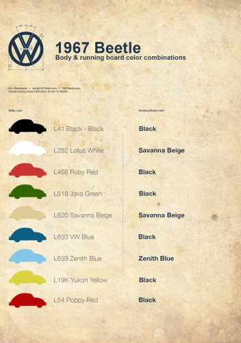 '67 Volkswagen Beetle — Correct Running Board Color Combinations