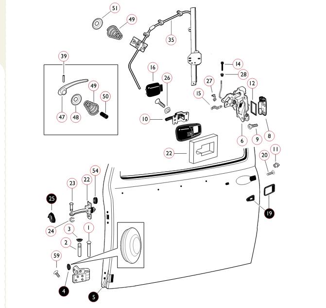 '67 beetle door locking mechanism