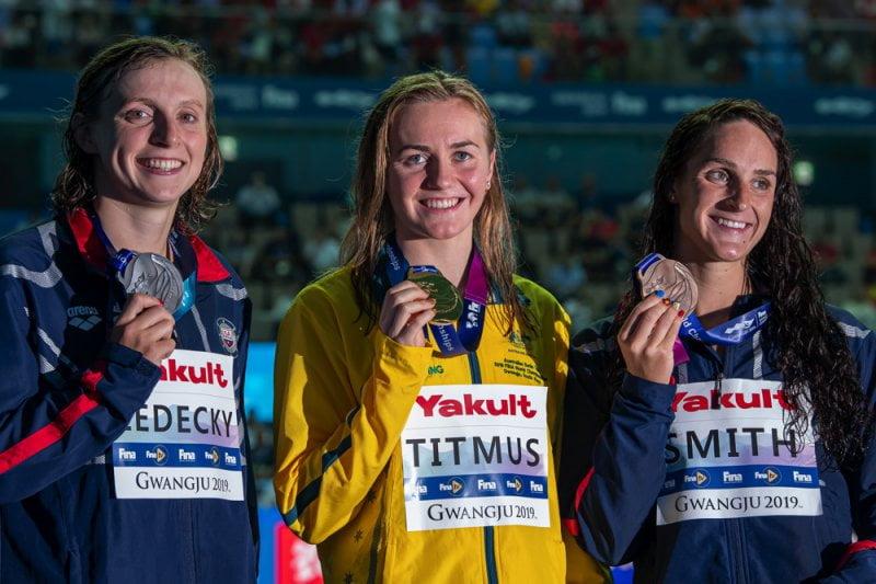 Podio 400m Libre Femeninon Mundial FINA Gwangju 2019