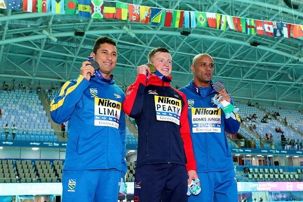 Podio 50m Pecho masculino Mundial FINA Gwangju 2019
