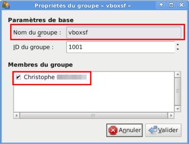 Propriété groupe vboxsf Utilisateur membre