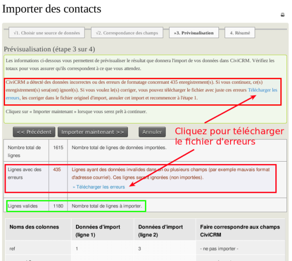 CiviCRM Contacts Importer contacts Etape 3