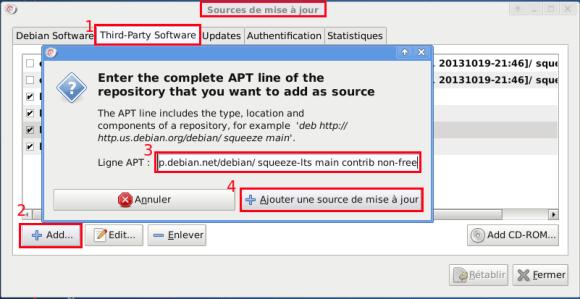 VirtualBox - Debian 6 - Sources dépôts - Ajout LTS