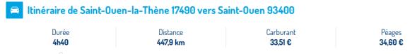 Détail temps/kilomètres/carburant/péages entre Saint-Ouen La Thene et Saint Ouen.