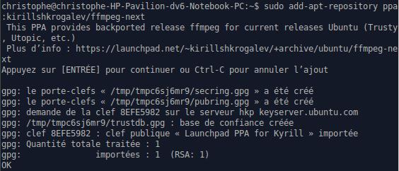Ajout du dépôt ffmpeg pour Ubuntu 14.04 et 14.10