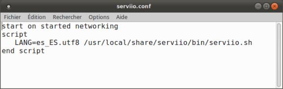 Contenu du fichier de configuration de Serviio