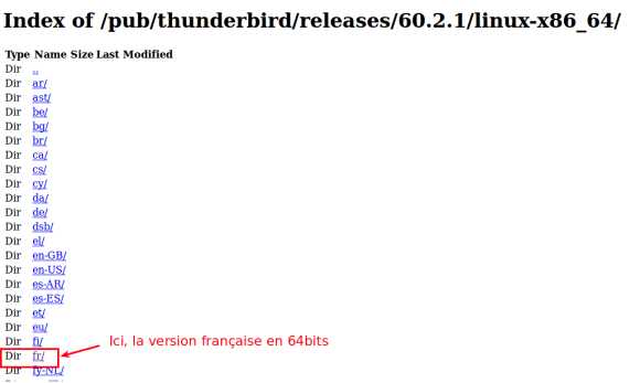 Sélection Version Thunderbird