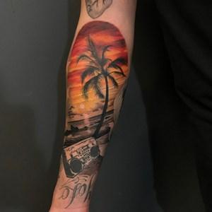 realistic beach view tattoo