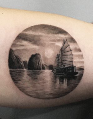 blackwork landscape tattoo
