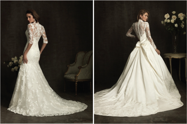 Long-sleeves-lace-back-wedding-dress-80s-inspired