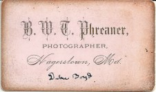 "Reverse of carte de visite portrait of ""Duke"" Boyd by B. W. T. Phreaner"