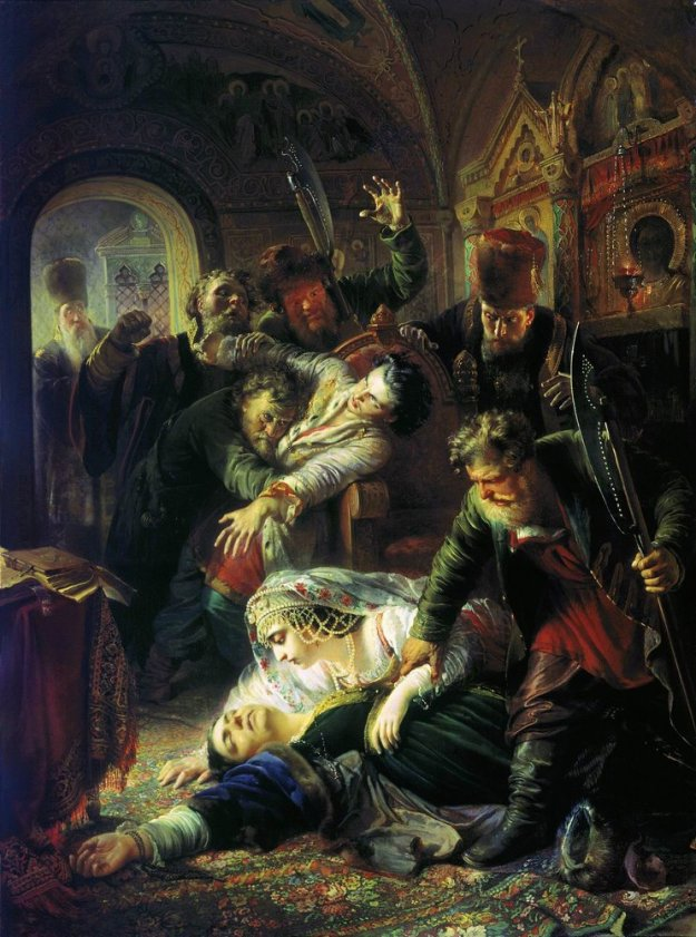 Makovsky_False_Dmitrys_agents_murdering_Feodor_Godunov_and_his_mother_1862