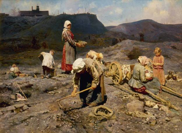 Nikolai Kasatkin--Poor to collect an abandoned quarry in coals.1886