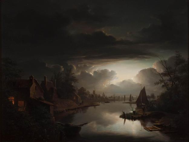 Petrus_van_Schendel_-_Rivierlandschap_in_de_zilveren_maneschijn