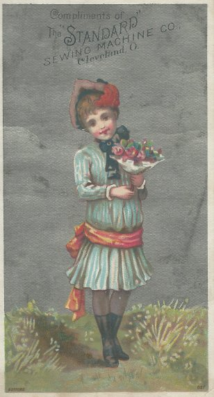 "Trade card for Standard Sewing Machine Co., Cleveland, Ohio. Stamped ""FREE BATTLE, AGENT, WELLINGTON, O."" on reverse. Author's collection."