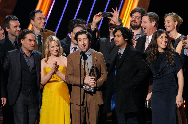 "The cast of ""The Big Bang Theory"" accept the award for ""Favorite Network TV Comedy"" at the 2013 People's Choice Awards in Los Angeles"