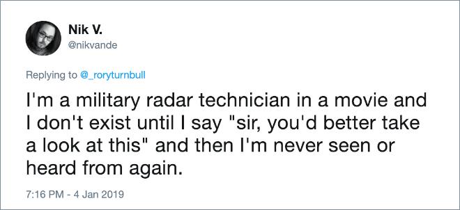 Military radar tech guy in movies.