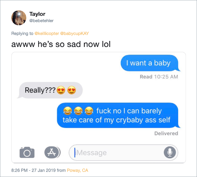 "Hilarious answer to ""I want a baby"" text from girlfriend."
