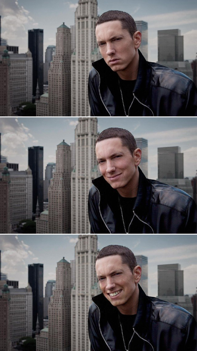 Eminem looks really creepy with a photoshopped smile.