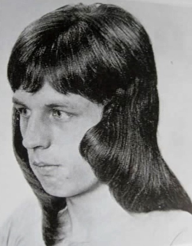 Typical men's hairstyle in 1970s.