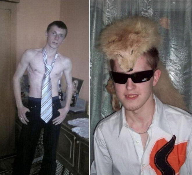 Hilariously weird profile picture from Russian dating site.