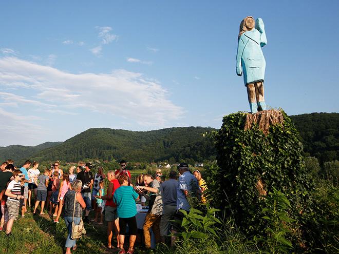 Lifelike statue of Melania Trump.