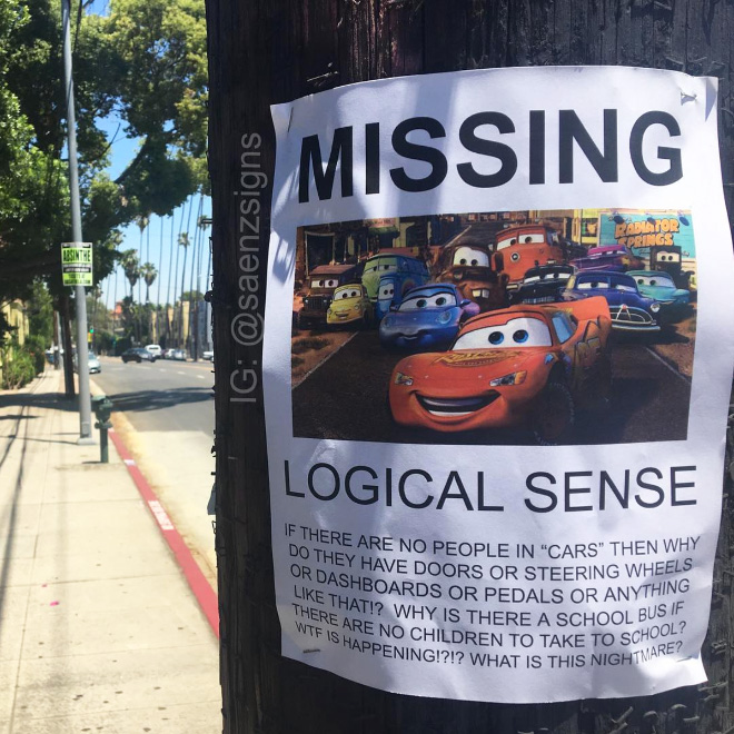 Clever fake poster bycomedian Jason C. Saenz in California.