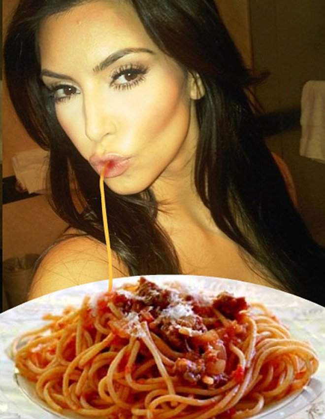 Duckface selfie fixed with spaghetti.